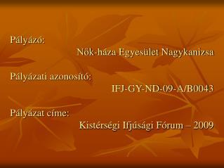 Pályázó:  Nők-háza Egyesület Nagykanizsa Pályázati azonosító:  IFJ-GY-ND-09-A/B0043