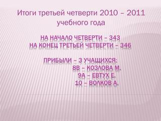 Итоги третьей четверти 2010 – 2011 учебного года