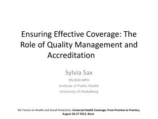 Ensuring Effective Coverage: The Role of Quality Management and Accreditation