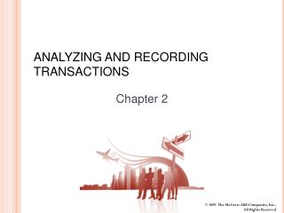 ANALYZING AND RECORDING TRANSACTIONS