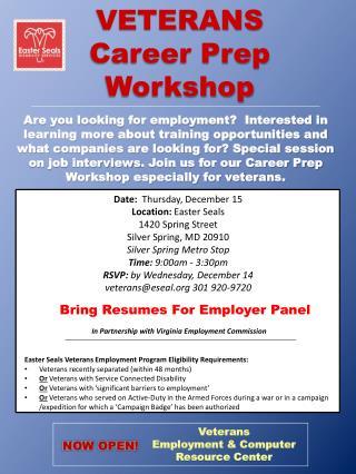 VETERANS              Career Prep  Workshop