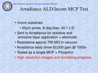 Arradiance ALD/Incom MCP Test
