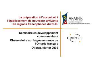 Séminaire en développement communautaire Observatoire sur la gouvernance de l'Ontario français