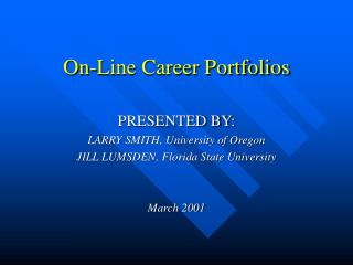 On-Line Career Portfolios