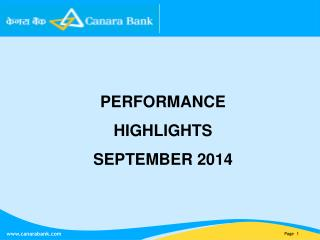 PERFORMANCE HIGHLIGHTS SEPTEMBER 2014