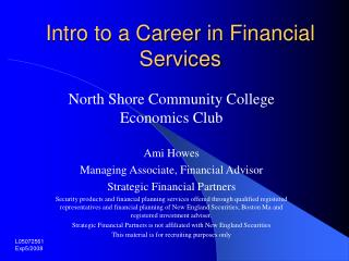 Intro to a Career in Financial Services
