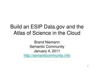 Build an ESIP Data and the Atlas of Science in the Cloud