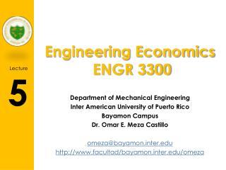Engineering Economics  ENGR 3300