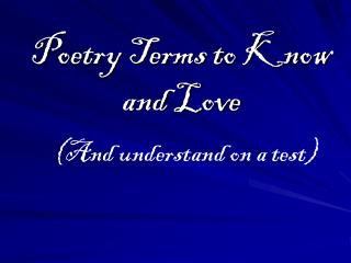 Poetry Terms to Know and Love