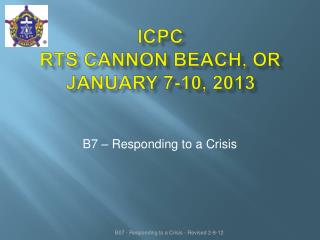 Icpc rts  cannon beach, or January 7-10, 2013