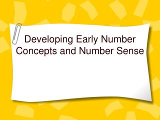 Developing Early Number Concepts and Number Sense