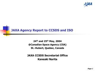 JAXA Agency Report to CCSDS and ISO