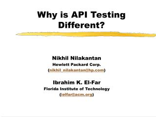 Why is API Testing Different?