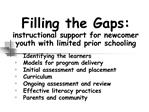 Filling the Gaps: instructional support for newcomer youth with limited prior schooling