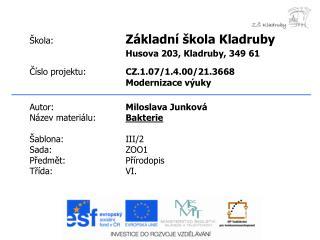 Autor: Miloslava Junková Název materiálu: Bakterie Šablona:III/2 Sada:ZOO1