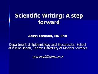 Scientific Writing: A step forward