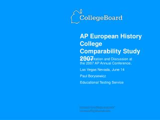 AP European History College Comparability Study 2007