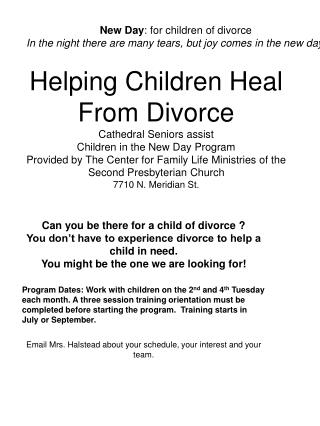 Can you be there for a child of divorce ?