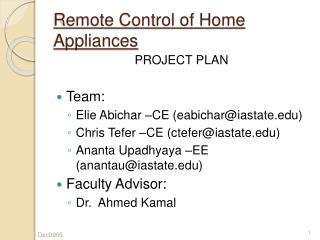 Remote Control of Home Appliances