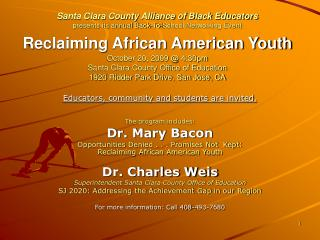 Educators, community and students are invited. The program includes: Dr. Mary Bacon