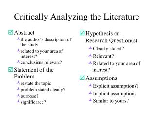 Critically Analyzing the Literature