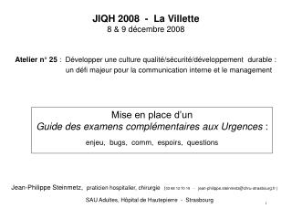 JIQH 2008  -  La Villette 8 & 9 décembre 2008