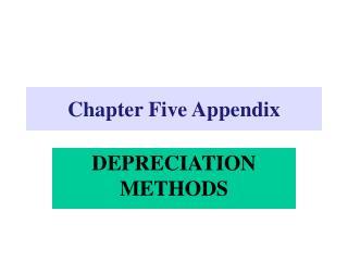 Chapter Five Appendix