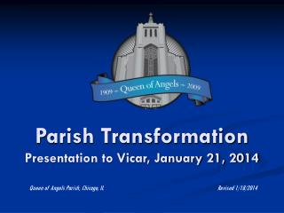 Parish Transformation  Presentation to Vicar, January 21, 2014