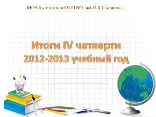 Итоги  IV  четверти 2012-2013 учебный год