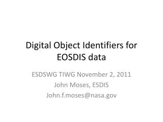Digital Object Identifiers for EOSDIS data