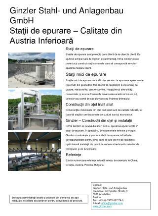 Ginzler Stahl- und Anlagenbau GmbH Staţii de epurare  –  Calitate din Austria Inferioară