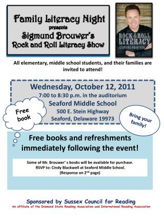 Family Literacy Night  presents Sigmund  Brouwer's Rock and Roll  Literacy  Show
