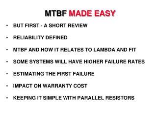 MTBF MADE EASY