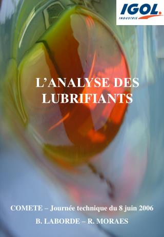 L ANALYSE DES LUBRIFIANTS