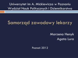 Uniwersytet im A. Mickiewicza w Poznaniu Wydział Nauk Politycznych i Dziennikarstwa