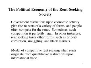 The Political Economy of the Rent-Seeking Society