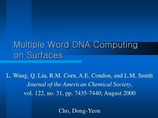 Multiple Word DNA Computing on Surfaces