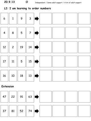 20.9.13        O LI: I am learning to order numbers