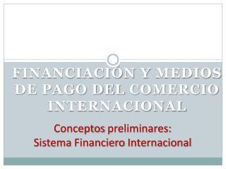 Conceptos preliminares : Sistema Financiero Internacional