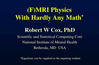 FMRI Physics With Hardly Any Math