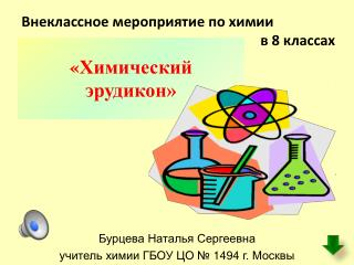 Бурцева Наталья Сергеевна учитель химии ГБОУ  ЦО № 1494 г. Москвы