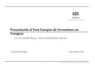 Presentaci�n al Foro Europeo de Inversiones en Paraguay