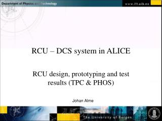 RCU – DCS system in ALICE