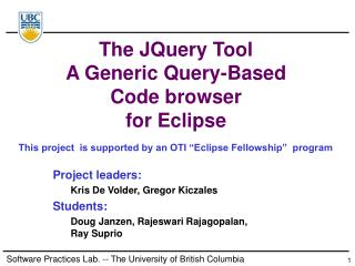 The JQuery Tool A Generic Query-Based Code browser  for Eclipse