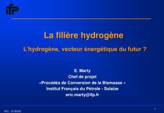 La fili re hydrog ne   L hydrog ne, vecteur  nerg tique du futur