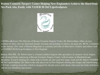 Boston Cosmetic Surgery Center Helping New Englanders Achiev