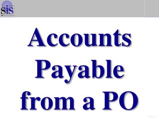 Accounts Payable from a PO