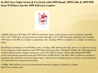 In 2011 Save Some Green & Go Green with 1099 Email