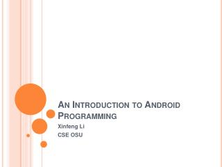 An Introduction to Android Programming