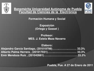 Benemérita  Universidad Autónoma de  Puebla Facultad  de Ciencias de la   Electrónica